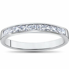 .50CT GENIUNE PRINCESS CUT DIAMOND CHANNEL SET WEDDING BAND 14K WHITE GOLD