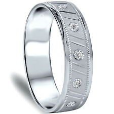 MEN'S RING.30CT NATURAL SI DIAMOND BRUSH MILGRAIN COMFORT BAND 14K WHITE GOLD