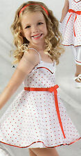 NEW DANCE Costume White mini dotted Dress Victorian Style Girls Size Red accent