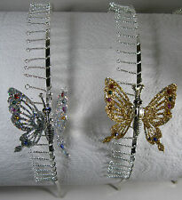 Silver Toned Metal Comb Headband with Large 3D Jeweled Butterfly