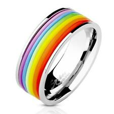 Gay Pride Ring Rainbow Colored Rubber Rings Stainless Steel LGBTQ