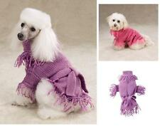 Zack & Zoey Belted Fringed Dog Coat Sweater LILAC PINK  HURRY! LIMITED SIZES