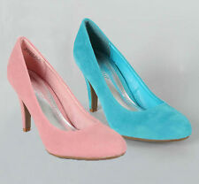 New Classic Comfy Round Toe Med High Heels Pumps Pink Turquoise Boutique-45 6-10