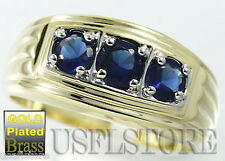 Mens 3 Montana Blue Stones Elegant Tutone Gold Plated Ring