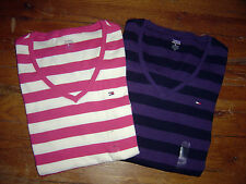 NEW Authentic TOMMY HILFIGER Womens LS Top  Shirt Tee  V-Neck Stripes Cotton