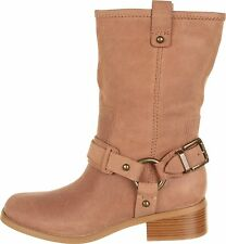NIB new  JESSICA SIMPSON INNA TAN MOTORCYCLE LEATHER RIDING HARNESS BOOTS