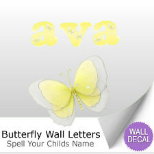 Wall Letter Alphabet Initial Sticker Vinyl Stickers Decals Name Yellow Butterfly
