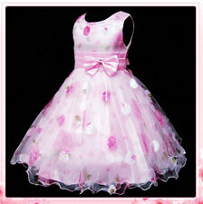 P3211 Pinks Floral Princess Wedding Party Flowers Girls Dress SIZE 3,4,5,6,7,8Y