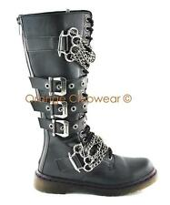 DEMONIA DISORDER-402 Womens Combat Punk Knee High Gothic Buckle Boots Shoes