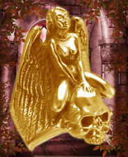 Gothic Biker Lilith Nude Angel Skull ring Gold plated