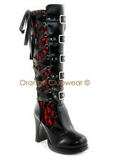 DEMONIA Crypto-106 Womens Sexy Gothic Victorian Lolita Corset Knee Hi High Boots