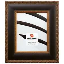 """Picture Frame Poster Frame 3.0"""" Distressed Black w/ Ornate Gold Real Wood (9244)"""