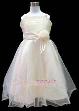 Champagne Rosette Children Wedding Flower Girl Party Dress Gown Sz 3-12 Age 2-13