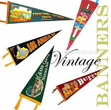 1960 Vintage Antique Souvenier Banners United States Canada California Flags