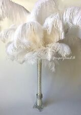 10 PCS White Ostrich Feathers For Wedding Prom Eiffel Tower Vase Centerpiece USA