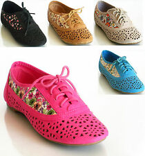 New Women's Perforated Cut Out Lace Up Oxford Flats Flower Pt Cambridge-04F 5-10