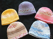 HANDCROCHETED SELF PATTERNING BABY HATS--ASTD COLOURS-NEWBORN to 9/12 MONTHS