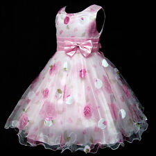 Kid Pink Floral Chiffon Wedding Party Flower Girls Dresses AGE 2,3,4,5,6,7,8,10Y