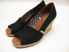 WOMENS TOMS CLASSIC CANVAS WEDGE BLACK