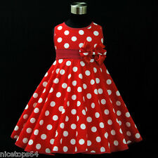 R3121 Toddler Girl Red Christmas Garden Party Girls Dress SZ 2,3,4,5,6,7,8,9,10T