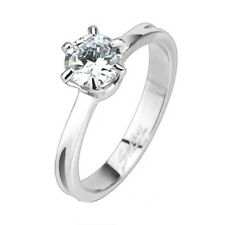 316L Stainless Steel 0.75 Carat Solitaire CZ Engagement Wedding Ring Size 5-8