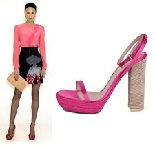 $650 YVES SAINT LAURENT SHOES 'GIPSY' SANDALS MAGENTA