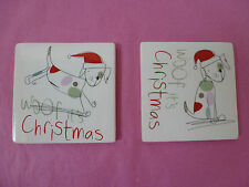 Gisela Graham 'Woof it's Christmas' Dog Coasters..2 designs