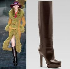 $1,795 RUNWAY GUCCI TALL BOOTS 'ALEXA' LEATHER BROWN HIGH HEEL
