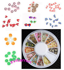 180 Pcs 3D Mix Tiny Fimo Nail Art Polymer Clay Slices Decoration Nail Tips Wheel