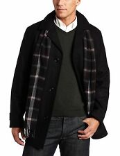 NWT $250 London Fog Men's Barrington Button Front Car Coat With Scarf