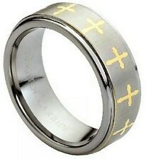 8mm Tungsten Men Women Wedding Band Ring Gold Plated Laser Engraved Crosses