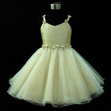 B875 Girl Beiges Gold Wedding Party Flowers Girls Dress SIZE 2-3-4-5-6-7-8-9-10Y
