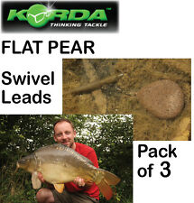 Korda 3x FLAT PEAR SWIVEL LEADS (Weights) for Carp Fishing Coarse Fishing KORDA