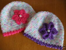 HANDCROCHETED BABY HAT WITH PEARL CENTRE FLOWER-TO FIT 9-12 MONTHS
