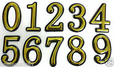 """4"""" TALL RAISED GOLD NUMBERS ADHESIVE BACKED 3D PLASTIC HOUSE MAILBOX STICKY BACK"""