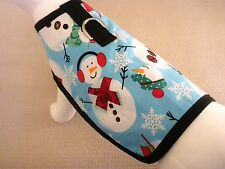 Clearance Winter Snowman Fleece Lined Dog Harness Coat Clothes