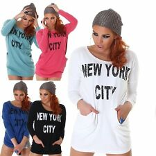 "Neu Damen Shirt ►S/M M/L Oversize Long Shirt Top Taschen Zipper ""New York City"""