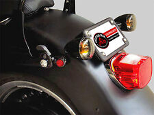 2007 & Up HARLEY FAT BOY BLACK TURN SIGNAL RELOCATION + LAY DOWN PLATE KIT
