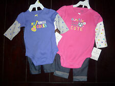 NWT Girls 2pc Pink Auntie Aunty Uncle Guitar Set w/Leggings 3m 9m 18m