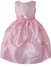 Flower Girl Dress Pink Diamond Wedding Pageant Bridesmaid Size 4-12 Formal Party