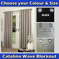 CATALINA WAVE Eyelet blockout curtains PAIR multi choice BLACK NATURAL or TAUPE