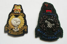 ROYAL MARINES GOLD WIRE AND BLACK WIRE BADGES