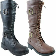 New Ladies Lace Up Side Zipped Long Knee Military Womens Boots Biker Boots Shoes