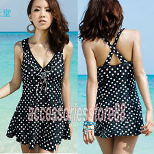 Plus Size Sexy One Piece Swimsuit Deep V Ruffle Polka Dot Swimdress Bathing Suit