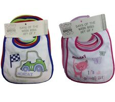 "BABY BIBS PACK OF 7 ""DAYS OF THE WEEK"" WATERPROOF BACK BNWT FREE POSTAGE"