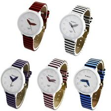 Women's Lady Casual Wrist Watches Fashion Color Stripes Strap Round Case