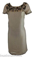 NEW MONSOON NUDE CREAM EVENING PARTY SUMMER SHIFT GOLD SEQUIN DRESS VINTAGE