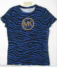 MICHAEL KORS BLACK+BRIGHT COBALT BLUE ZEBRA CREW NECK TEE SHIRT+GOLD RHINESTONE