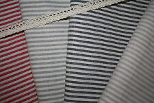 Shabby Chic WOVEN Ticking Stripe Cotton Linen Fabric RED GRAY BLACK BEIGE