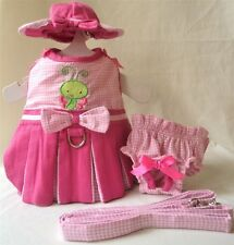 Butterfly Baby Dog Dress 4 Pc Set with Hat, Panties, & Leash XS, S, M, L